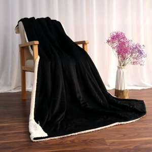 Custom Black Plush Sherpa Throw Blanket