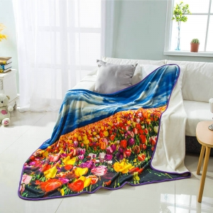 Custom Colorful Flower Flannel Print Blanket