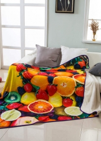 Custom Fruit Printing Flannel Blanket