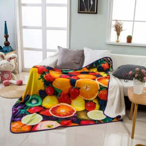 Custom Soft Fruit Printing Flannel Blanket