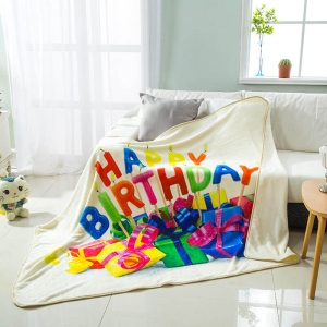 Plush Birthday Character Printed Flannel Blanket wholesale