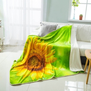 Sunflower Digital Printed Flannel Fleece Blanket