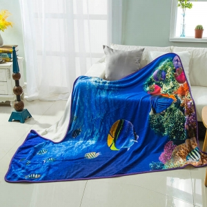 Underwater World Sea Print Flannel Throw