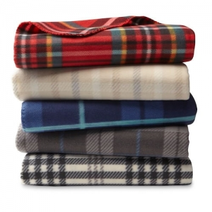 plaid polar fleece blanket throw