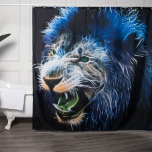 100% Polyester Shower Curtains With Lion Printed