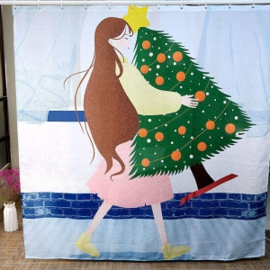 Cartoon Girl Christmas Tree Printed Wholesale Fabric Shower Curtains