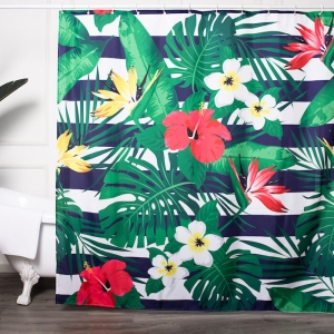 Colorful Flower Printed Custom Fabric Shower Curtains Wholesale