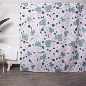 Custom Made Floral Printed Fabric Shower Curtains wholesale
