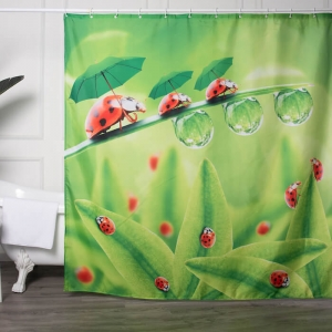 Custom Made Shower Curtains with Cute Ladybug Printed