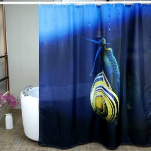 Custom Snail Printing Beautiful Polyester Shower Curtains