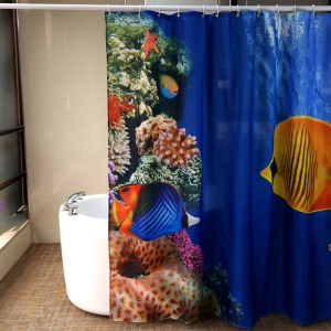 Custom Seaworld Print Polyester Shower Curtain Waterproof