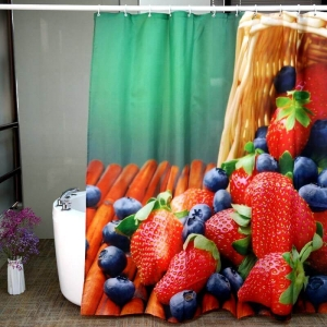Strawberries Fruit Theme Custom Printed Shower Curtains