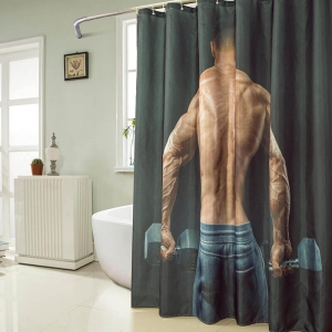 Strong Man Printed Fabric Shower Curtains