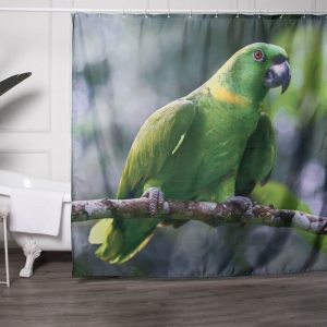 Wholesale Fabric Shower Curtains with Bird Printed