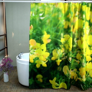 Yellow Flower Printed Custom Fabric Shower Curtains Wholesale