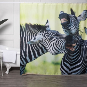 Zebras Digital Printing Bathtub Polyester Shower Curtains
