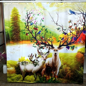 Custom Deer Printed Fancy Shower Curtains