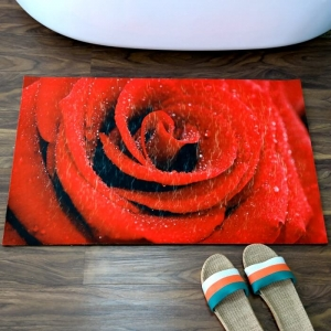 Custom Red Rose Printed Anti Slip Bath Mats
