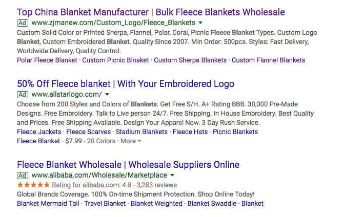 blanket manufacturers Google Ads