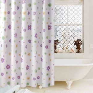 Custom Flowers Printed PEVA Bathroom Shower Curtains