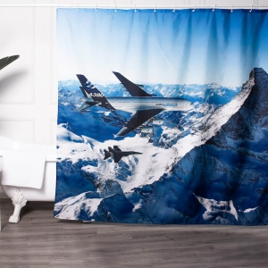 Custom Airplane Print Bathroom Curtains