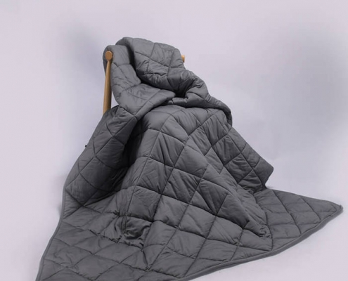 Custom Cotton Material Dark Grey Anxiety Weighted Blanket for Autistic Child