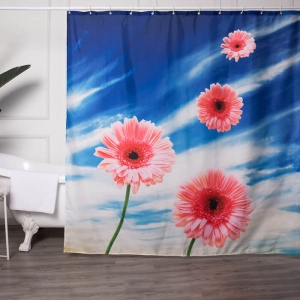 Custom Luxury Shower Curtains with Flower Digital Printed