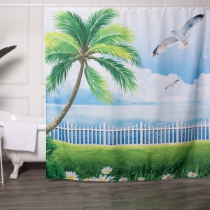 Designer Shower Curtains with Beach Paintings