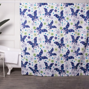 Fabric Shower Curtains with Butterfly Paint