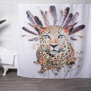 Leopard Printed 100 Polyester Shower Curtains