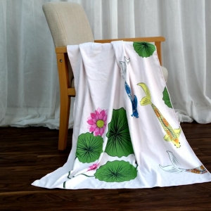 Wholesale Beautiful Beach Towels with Lotus Flower Printing
