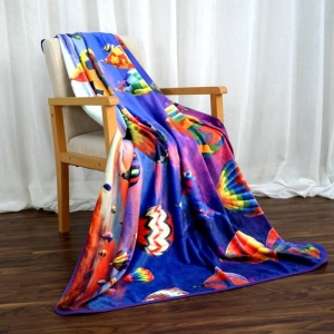 Hot Air Balloon Digital Printed Coral Flannel Blankets
